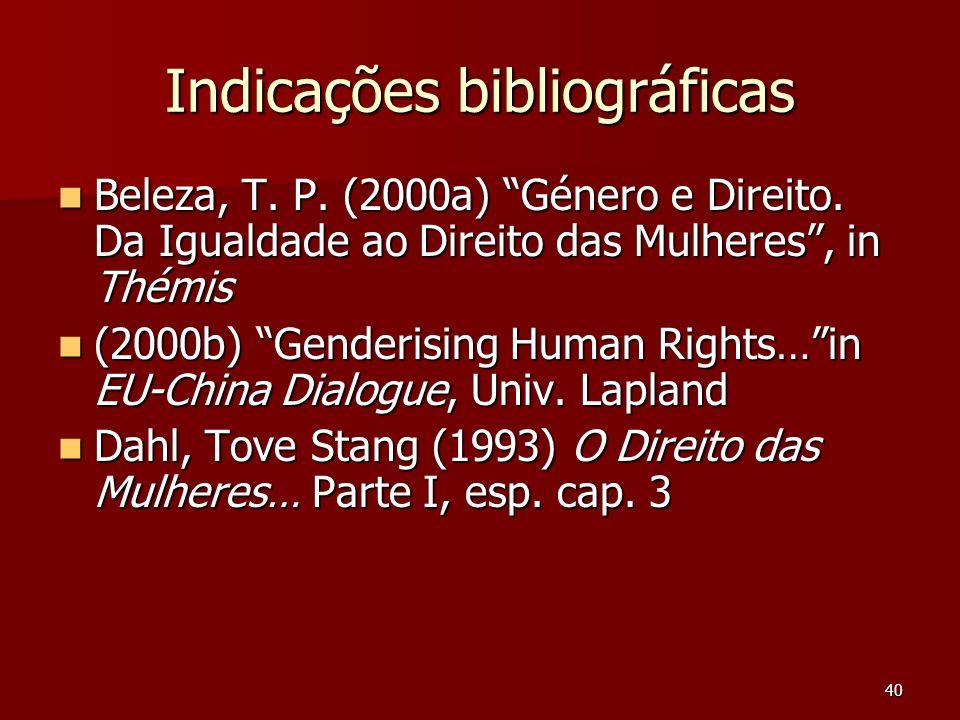 40 Indicações bibliográficas Beleza, T. P. (2000a) Género e Direito. Da Igualdade ao Direito das Mulheres, in Thémis Beleza, T. P. (2000a) Género e Di