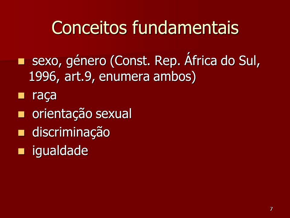 7 Conceitos fundamentais sexo, género (Const. Rep. África do Sul, 1996, art.9, enumera ambos) sexo, género (Const. Rep. África do Sul, 1996, art.9, en