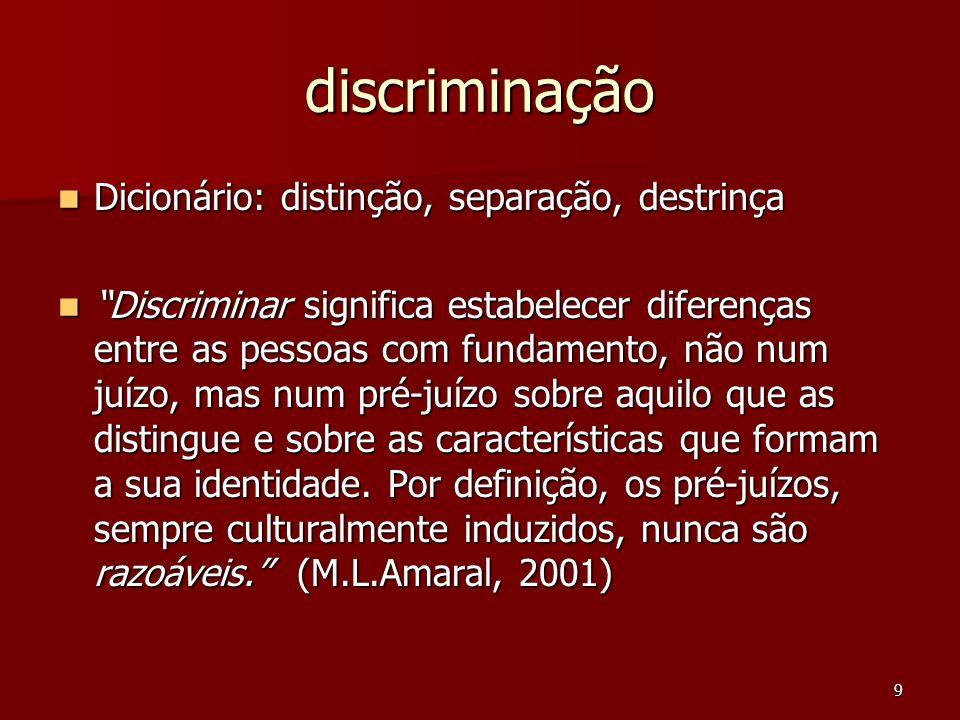 9 discriminação Dicionário: distinção, separação, destrinça Dicionário: distinção, separação, destrinça Discriminar significa estabelecer diferenças e