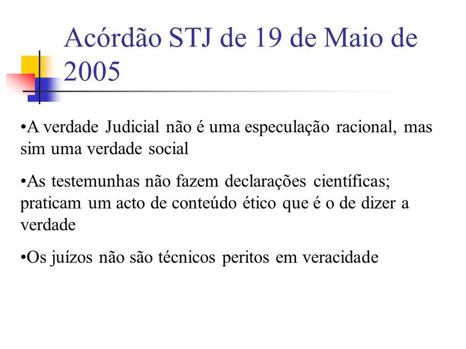 Acórdão STJ de 19 de Maio de 2005 A verdade Judicial não é uma especulação racional, mas sim uma verdade social As testemunhas não fazem declarações c