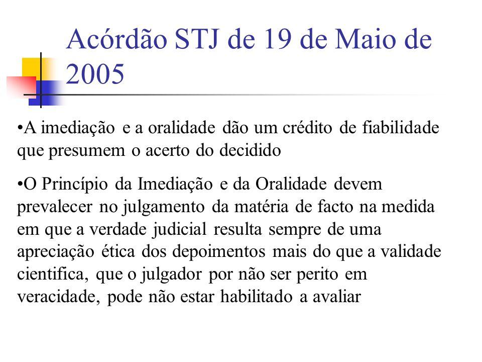 Acórdão STJ de 19 de Maio de 2005 A imediação e a oralidade dão um crédito de fiabilidade que presumem o acerto do decidido O Princípio da Imediação e