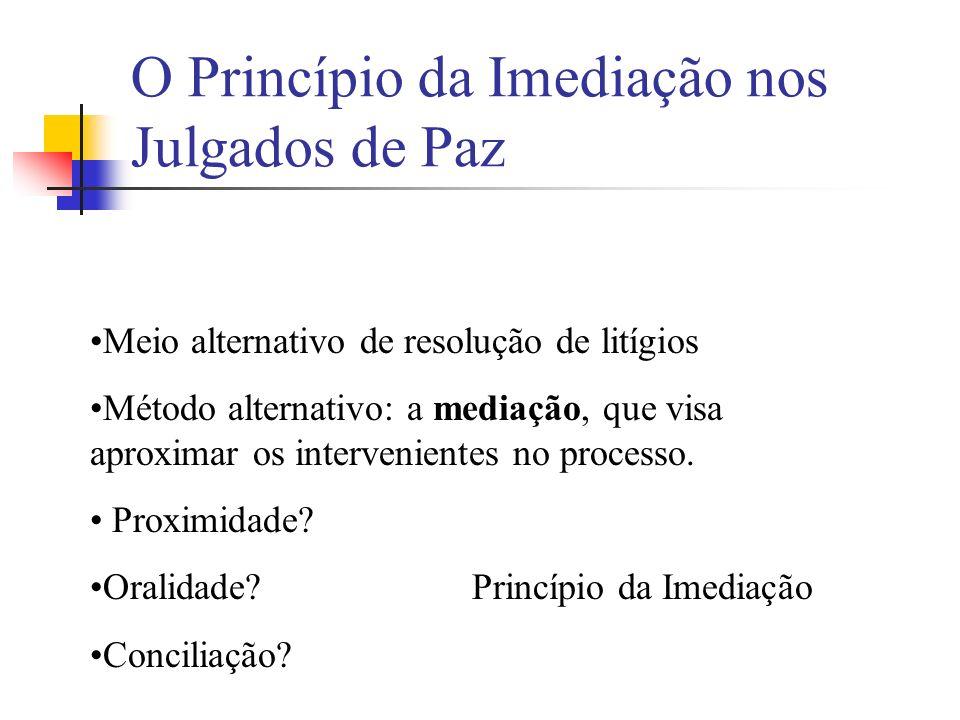 O Princípio da Imediação nos Julgados de Paz Meio alternativo de resolução de litígios Método alternativo: a mediação, que visa aproximar os interveni