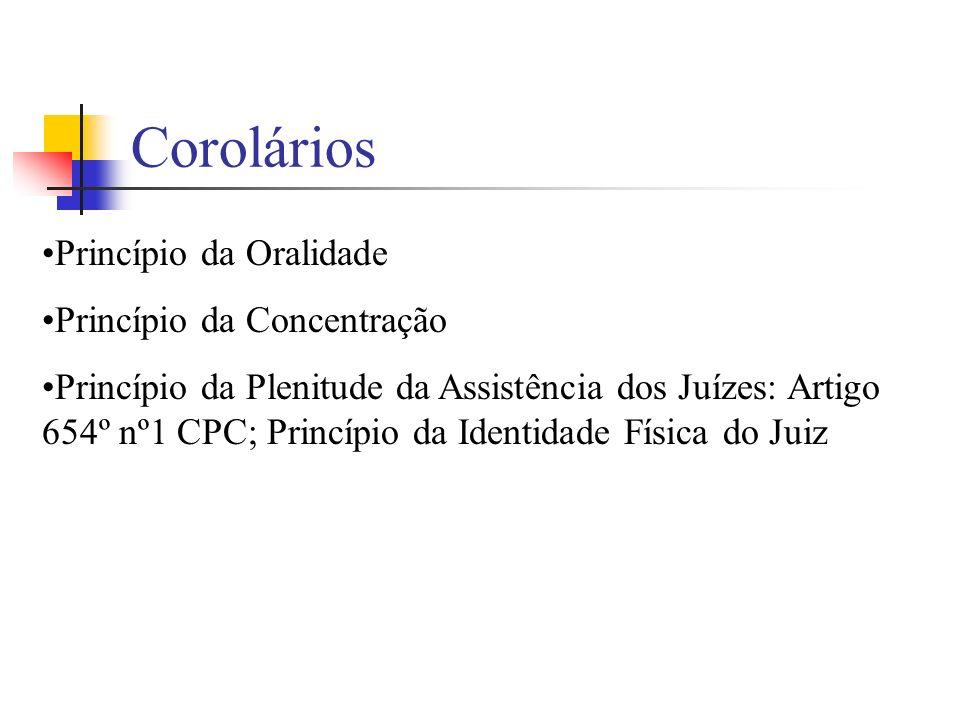 Corolários Princípio da Oralidade Princípio da Concentração Princípio da Plenitude da Assistência dos Juízes: Artigo 654º nº1 CPC; Princípio da Identi