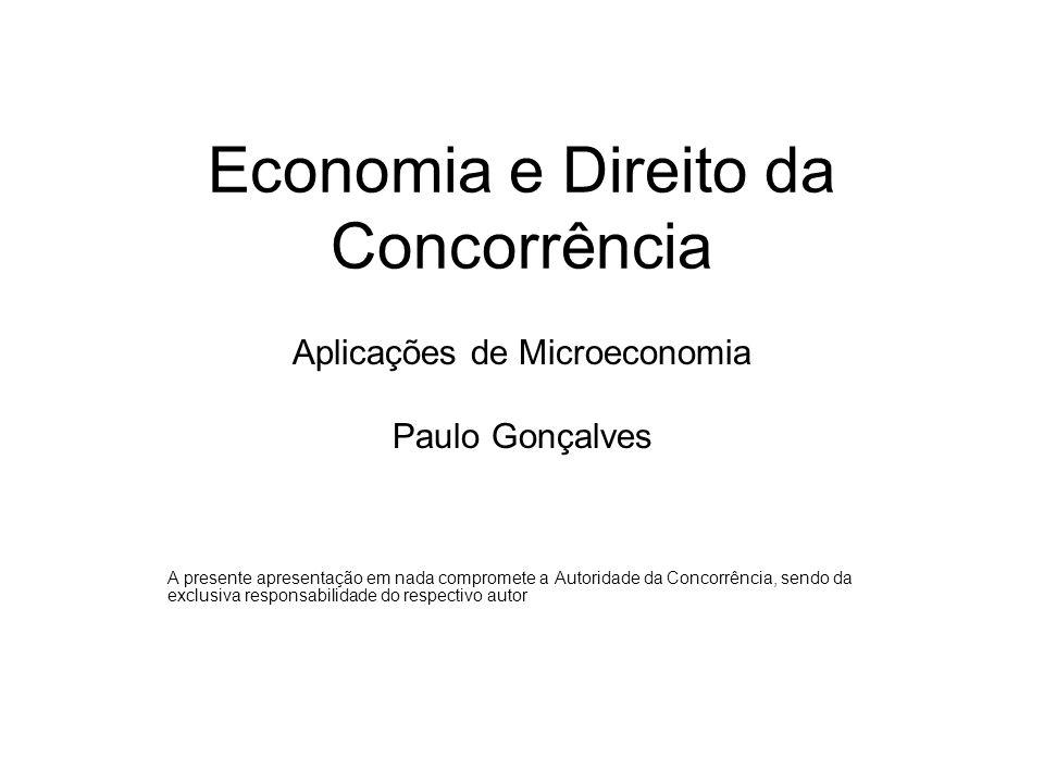 Economia e Direito da Concorrência Aplicações de Microeconomia Paulo Gonçalves A presente apresentação em nada compromete a Autoridade da Concorrência, sendo da exclusiva responsabilidade do respectivo autor
