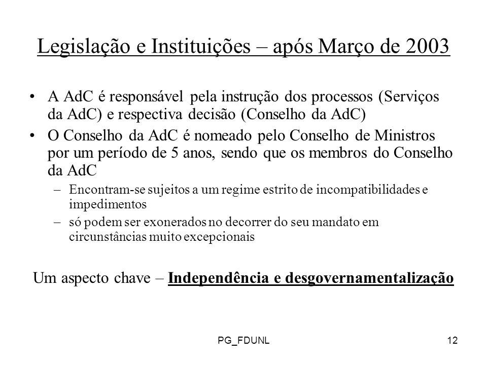 PG_FDUNL12 Legislação e Instituições – após Março de 2003 A AdC é responsável pela instrução dos processos (Serviços da AdC) e respectiva decisão (Conselho da AdC) O Conselho da AdC é nomeado pelo Conselho de Ministros por um período de 5 anos, sendo que os membros do Conselho da AdC –Encontram-se sujeitos a um regime estrito de incompatibilidades e impedimentos –só podem ser exonerados no decorrer do seu mandato em circunstâncias muito excepcionais Um aspecto chave – Independência e desgovernamentalização