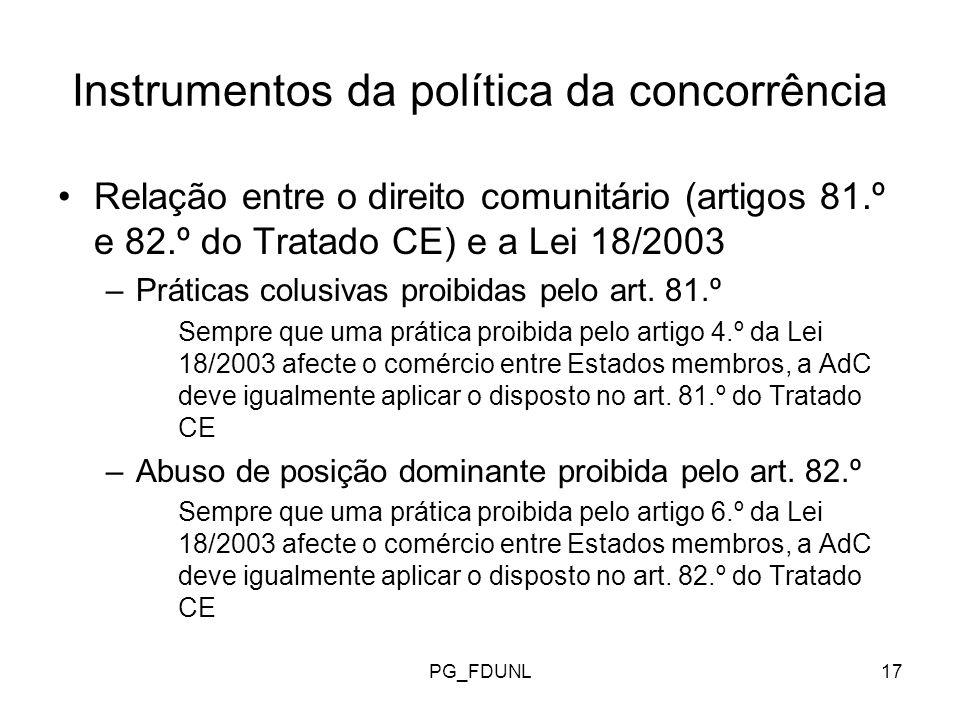 PG_FDUNL17 Instrumentos da política da concorrência Relação entre o direito comunitário (artigos 81.º e 82.º do Tratado CE) e a Lei 18/2003 –Práticas colusivas proibidas pelo art.
