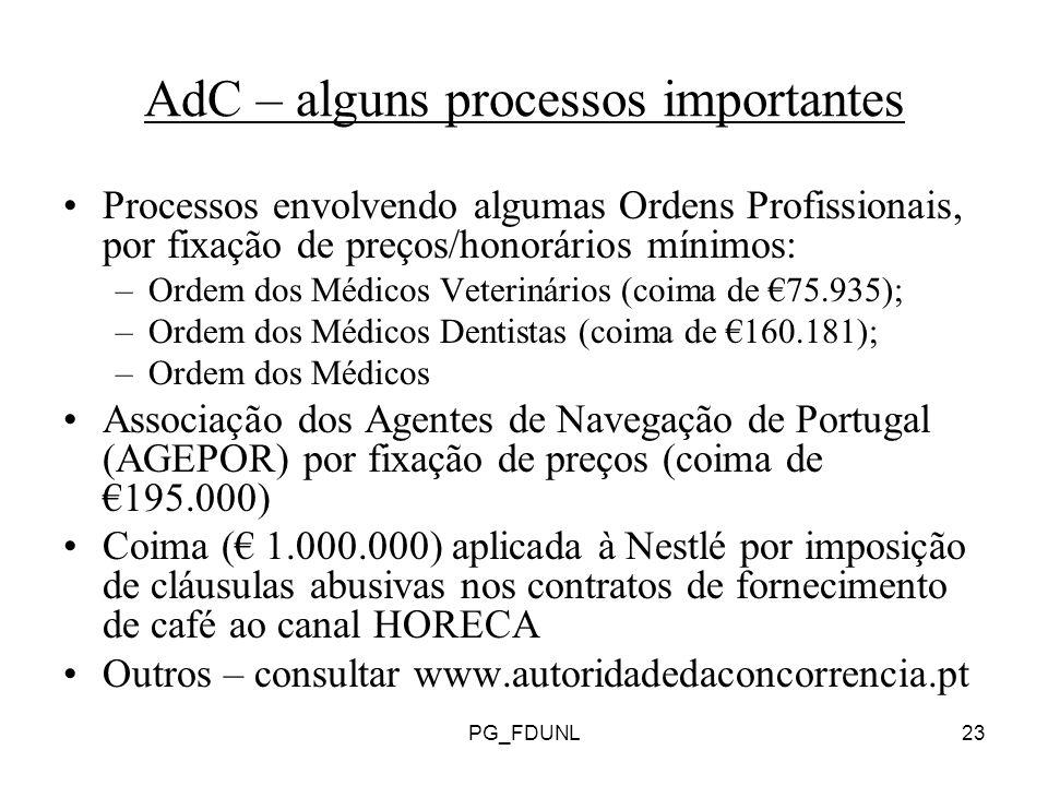 PG_FDUNL23 AdC – alguns processos importantes Processos envolvendo algumas Ordens Profissionais, por fixação de preços/honorários mínimos: –Ordem dos Médicos Veterinários (coima de 75.935); –Ordem dos Médicos Dentistas (coima de 160.181); –Ordem dos Médicos Associação dos Agentes de Navegação de Portugal (AGEPOR) por fixação de preços (coima de 195.000) Coima ( 1.000.000) aplicada à Nestlé por imposição de cláusulas abusivas nos contratos de fornecimento de café ao canal HORECA Outros – consultar www.autoridadedaconcorrencia.pt