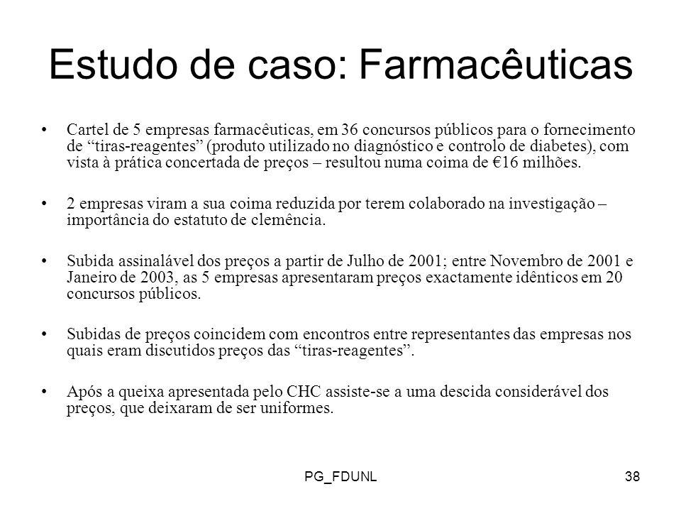 PG_FDUNL38 Estudo de caso: Farmacêuticas Cartel de 5 empresas farmacêuticas, em 36 concursos públicos para o fornecimento de tiras-reagentes (produto utilizado no diagnóstico e controlo de diabetes), com vista à prática concertada de preços – resultou numa coima de 16 milhões.