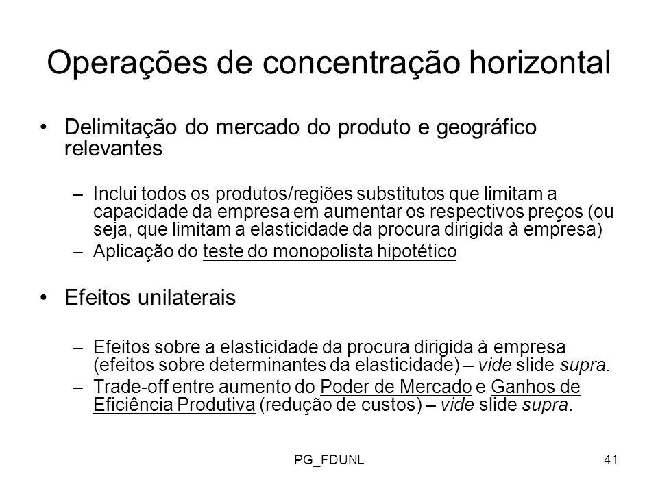 PG_FDUNL41 Operações de concentração horizontal Delimitação do mercado do produto e geográfico relevantes –Inclui todos os produtos/regiões substitutos que limitam a capacidade da empresa em aumentar os respectivos preços (ou seja, que limitam a elasticidade da procura dirigida à empresa) –Aplicação do teste do monopolista hipotético Efeitos unilaterais –Efeitos sobre a elasticidade da procura dirigida à empresa (efeitos sobre determinantes da elasticidade) – vide slide supra.