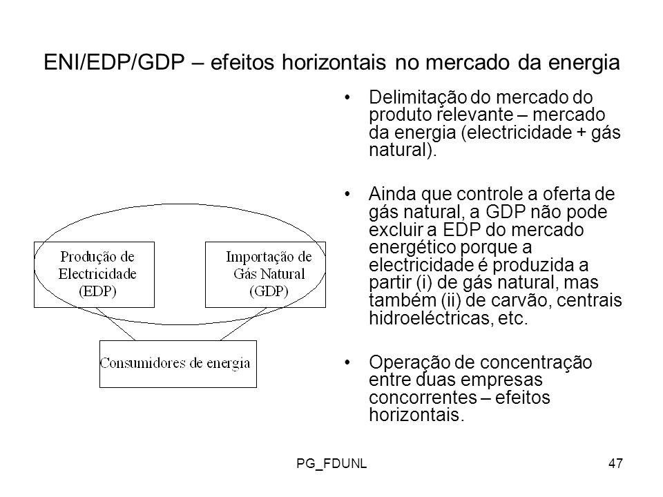 PG_FDUNL47 ENI/EDP/GDP – efeitos horizontais no mercado da energia Delimitação do mercado do produto relevante – mercado da energia (electricidade + gás natural).