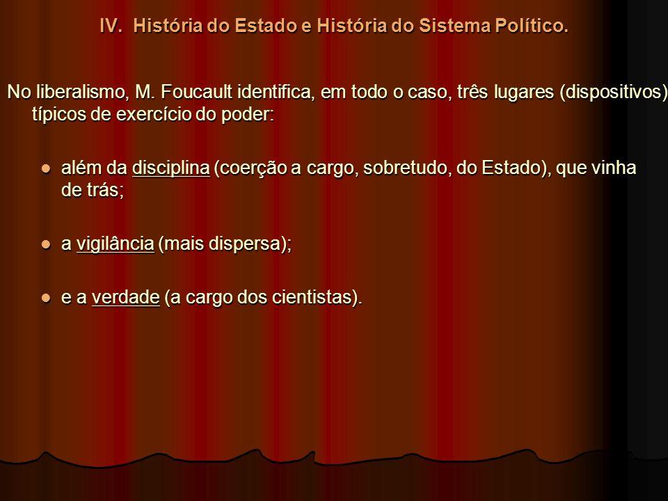 IV. História do Estado e História do Sistema Político. No liberalismo, M. Foucault identifica, em todo o caso, três lugares (dispositivos) típicos de