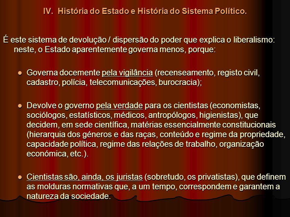 IV. História do Estado e História do Sistema Político. É este sistema de devolução / dispersão do poder que explica o liberalismo: neste, o Estado apa