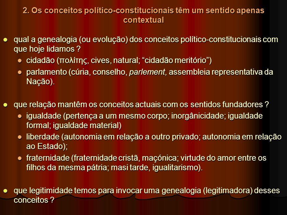 2. Os conceitos político-constitucionais têm um sentido apenas contextual qual a genealogia (ou evolução) dos conceitos político-constitucionais com q