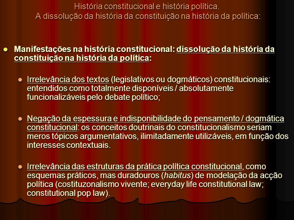 História constitucional e história política. A dissolução da história da constituição na história da política: Manifestações na história constituciona