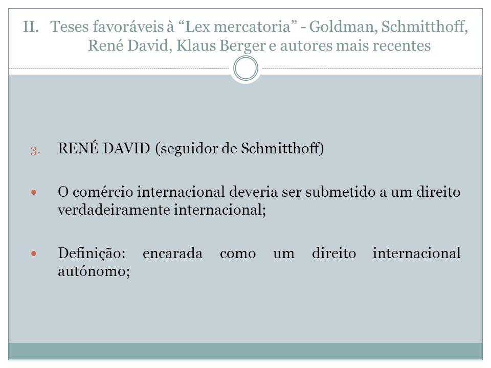 II.Teses favoráveis à Lex mercatoria - Goldman, Schmitthoff, René David, Klaus Berger e autores mais recentes 3.