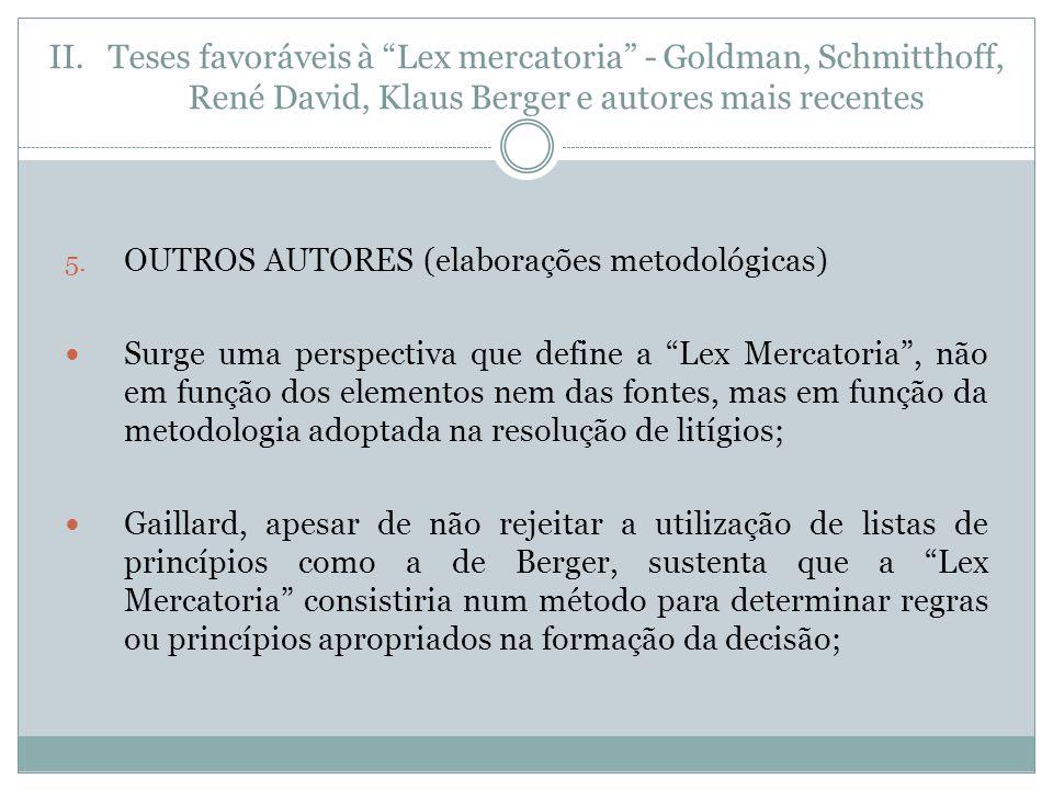 II.Teses favoráveis à Lex mercatoria - Goldman, Schmitthoff, René David, Klaus Berger e autores mais recentes 5.