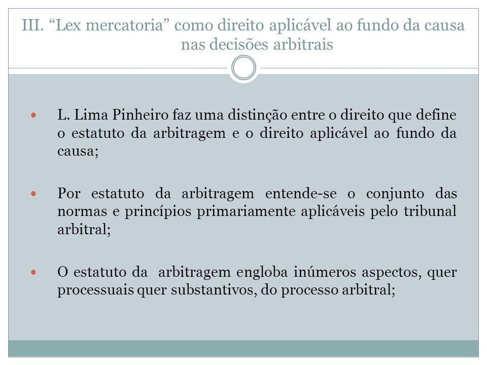 III.Lex mercatoria como direito aplicável ao fundo da causa nas decisões arbitrais L.