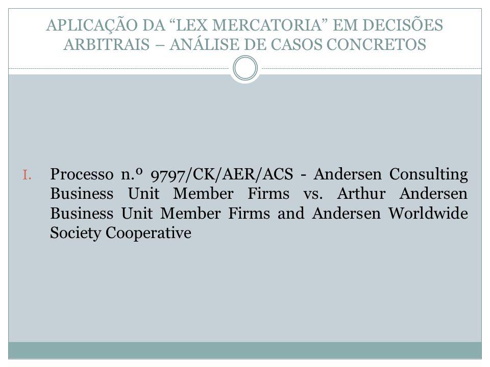 APLICAÇÃO DA LEX MERCATORIA EM DECISÕES ARBITRAIS – ANÁLISE DE CASOS CONCRETOS I.