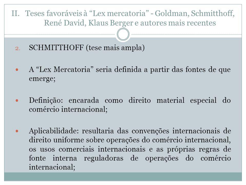 II.Teses favoráveis à Lex mercatoria - Goldman, Schmitthoff, René David, Klaus Berger e autores mais recentes 2.