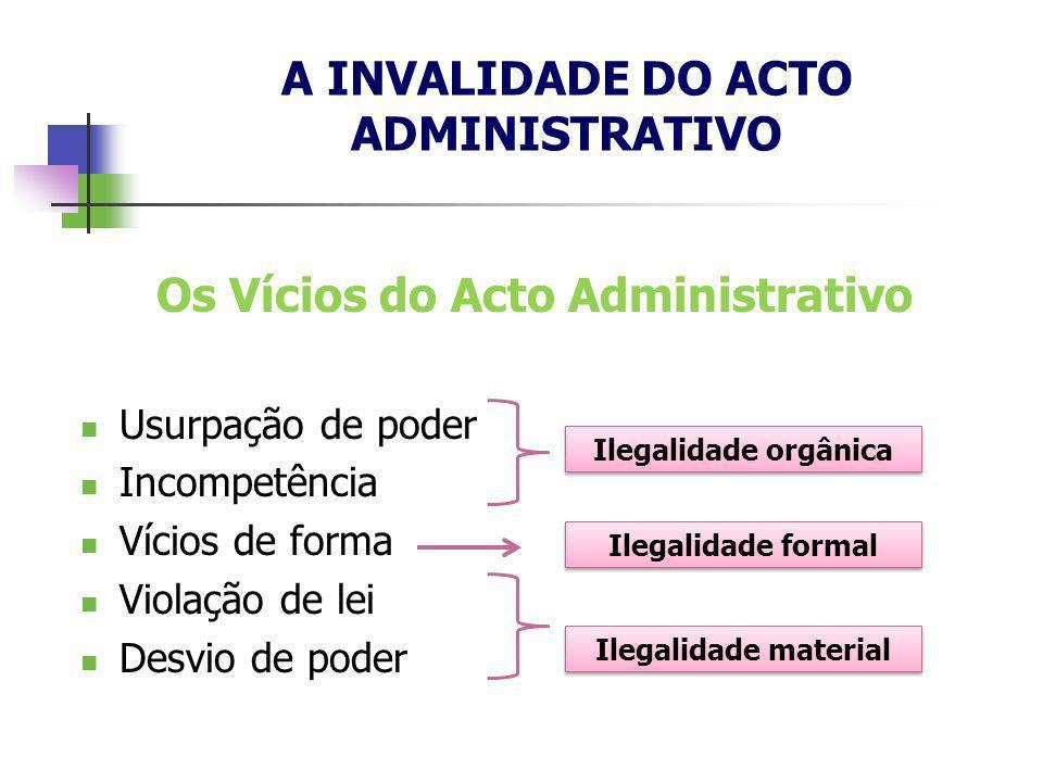 A INVALIDADE DO ACTO ADMINISTRATIVO Os Vícios do Acto Administrativo Usurpação de poder Incompetência Vícios de forma Violação de lei Desvio de poder