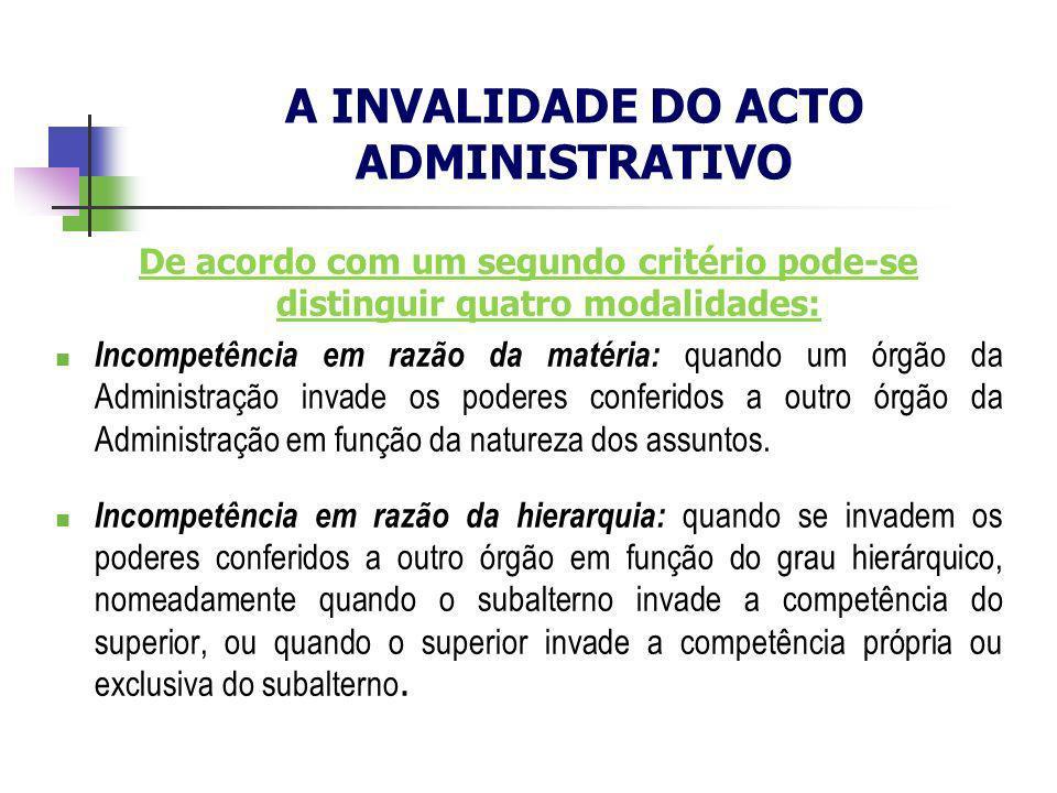 De acordo com um segundo critério pode-se distinguir quatro modalidades: Incompetência em razão da matéria: quando um órgão da Administração invade os