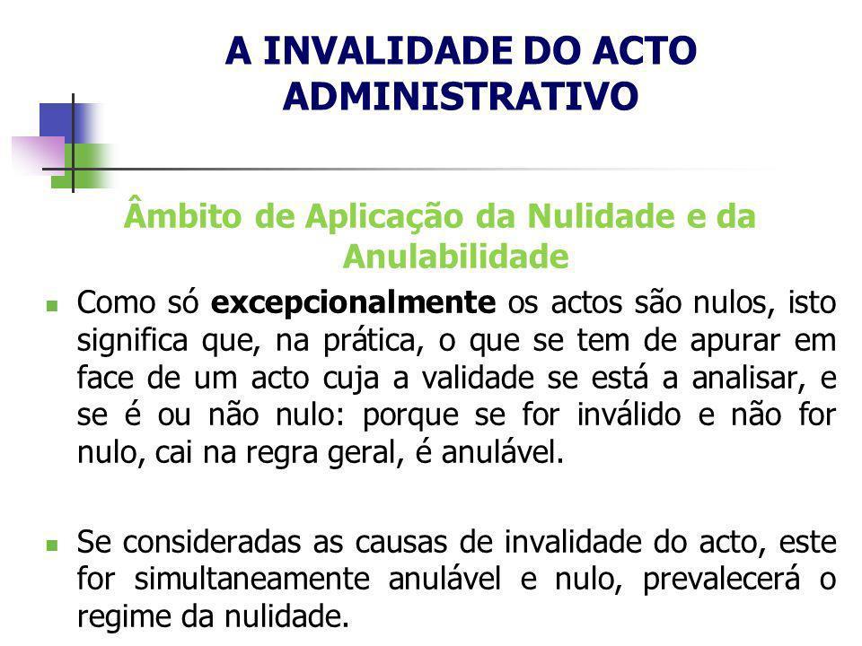 Âmbito de Aplicação da Nulidade e da Anulabilidade Como só excepcionalmente os actos são nulos, isto significa que, na prática, o que se tem de apurar