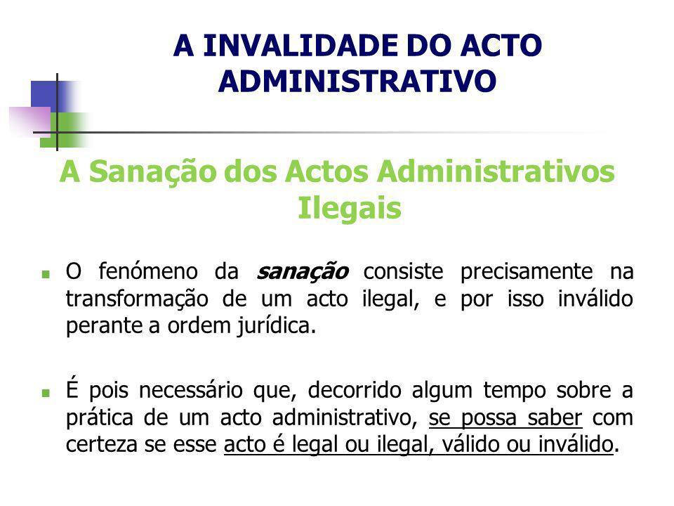 A Sanação dos Actos Administrativos Ilegais O fenómeno da sanação consiste precisamente na transformação de um acto ilegal, e por isso inválido perant
