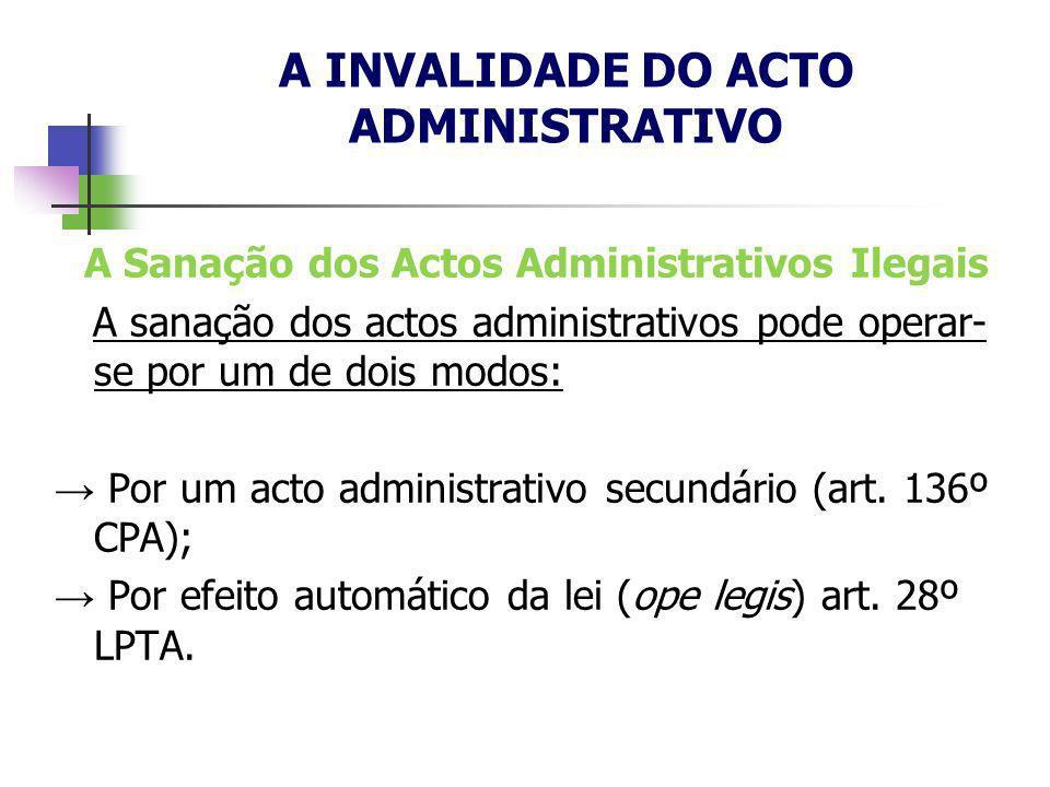 A Sanação dos Actos Administrativos Ilegais A sanação dos actos administrativos pode operar- se por um de dois modos: Por um acto administrativo secun