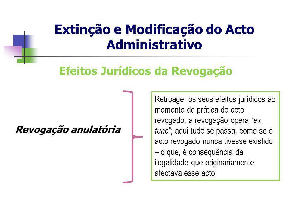 Efeitos Jurídicos da Revogação Revogação anulatória Extinção e Modificação do Acto Administrativo Retroage, os seus efeitos jurídicos ao momento da pr