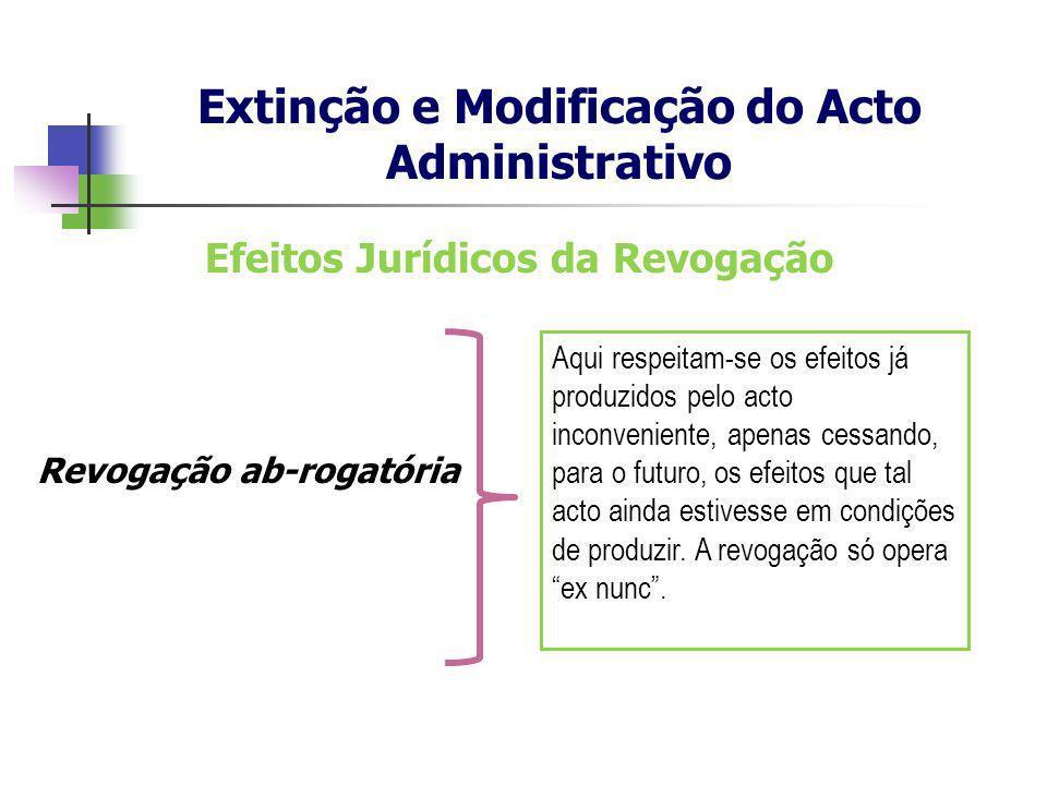 Efeitos Jurídicos da Revogação Revogação ab-rogatória Extinção e Modificação do Acto Administrativo Aqui respeitam-se os efeitos já produzidos pelo ac