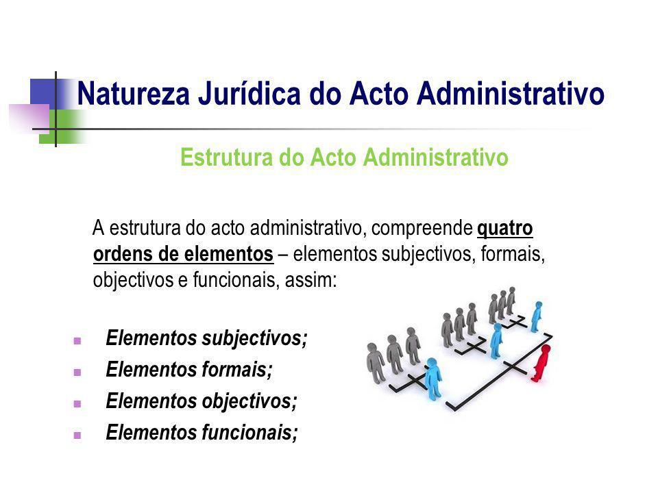 Estrutura do Acto Administrativo A estrutura do acto administrativo, compreende quatro ordens de elementos – elementos subjectivos, formais, objectivo