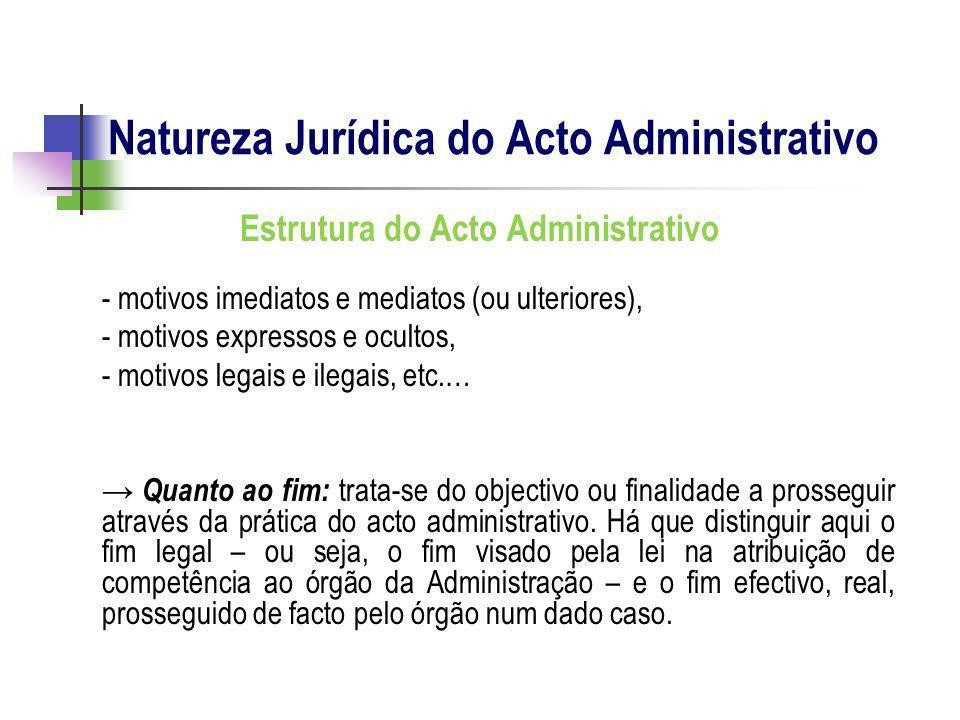 Estrutura do Acto Administrativo - motivos imediatos e mediatos (ou ulteriores), - motivos expressos e ocultos, - motivos legais e ilegais, etc.… Quan