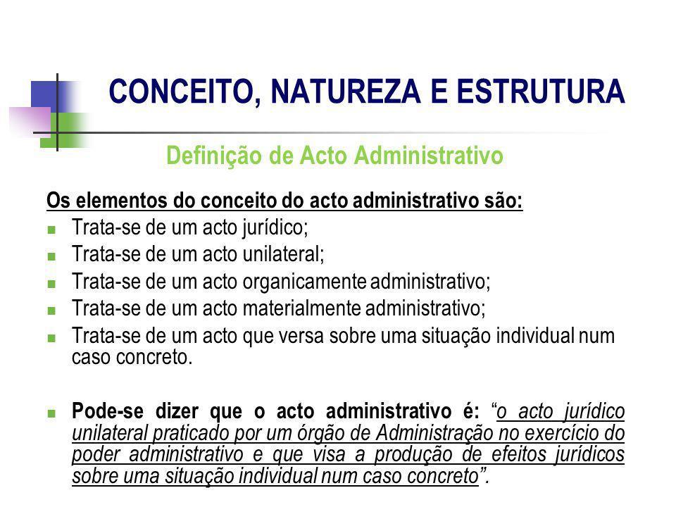 Definição de Acto Administrativo Os elementos do conceito do acto administrativo são: Trata-se de um acto jurídico; Trata-se de um acto unilateral; Tr