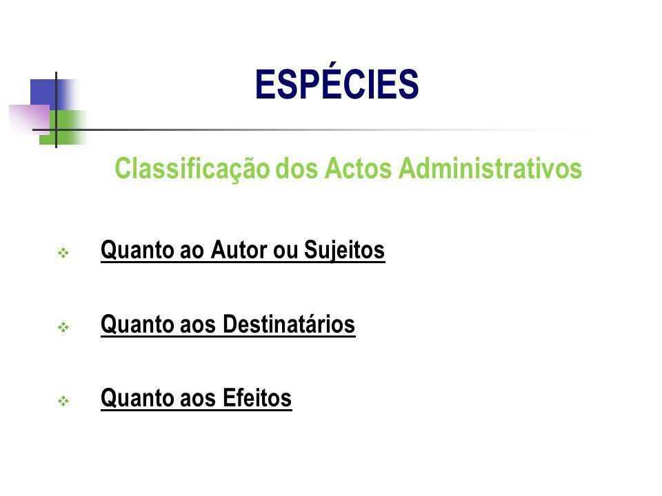 Classificação dos Actos Administrativos Quanto ao Autor ou Sujeitos Quanto aos Destinatários Quanto aos Efeitos ESPÉCIES