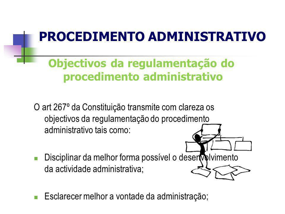 Objectivos da regulamentação do procedimento administrativo O art 267º da Constituição transmite com clareza os objectivos da regulamentação do proced