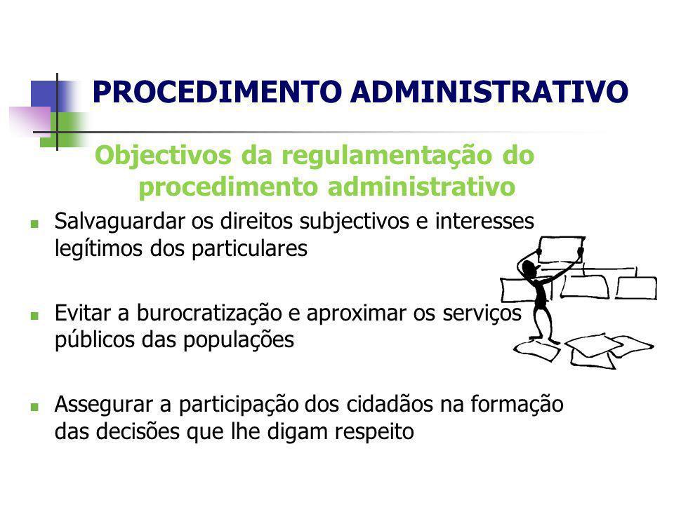Objectivos da regulamentação do procedimento administrativo Salvaguardar os direitos subjectivos e interesses legítimos dos particulares Evitar a buro
