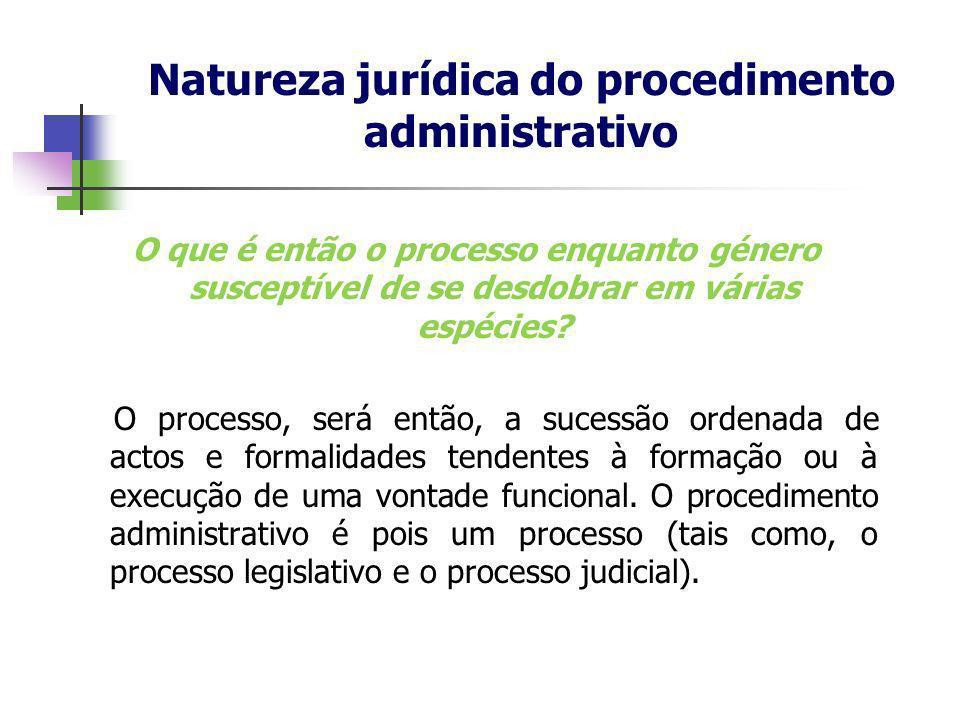 Natureza jurídica do procedimento administrativo O que é então o processo enquanto género susceptível de se desdobrar em várias espécies? O processo,