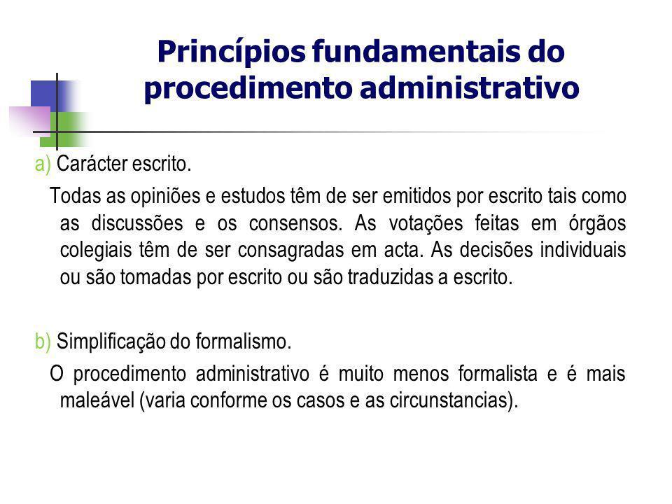 Princípios fundamentais do procedimento administrativo a) Carácter escrito. Todas as opiniões e estudos têm de ser emitidos por escrito tais como as d