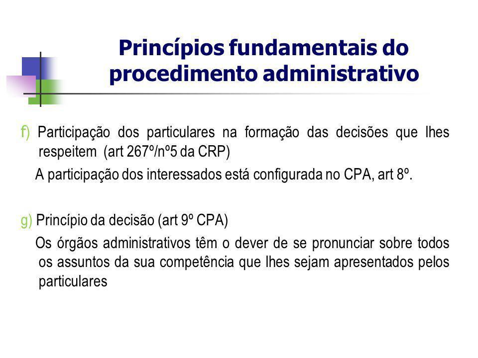 f ) Participação dos particulares na formação das decisões que lhes respeitem (art 267º/nº5 da CRP) A participação dos interessados está configurada n