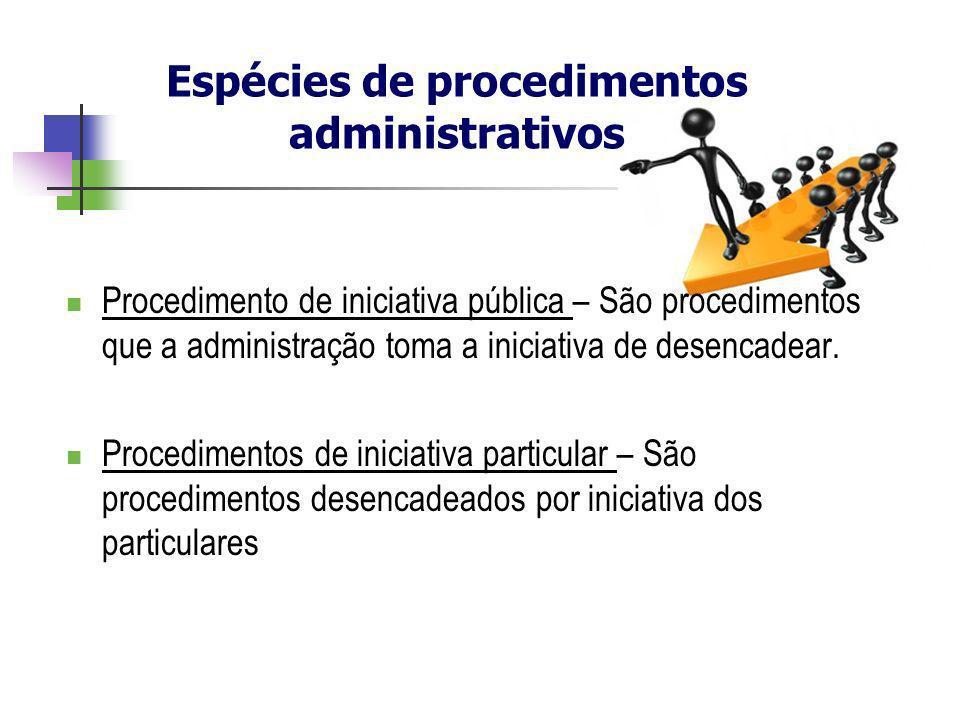Procedimento de iniciativa pública – São procedimentos que a administração toma a iniciativa de desencadear. Procedimentos de iniciativa particular –