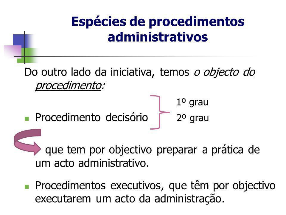 Do outro lado da iniciativa, temos o objecto do procedimento: 1º grau Procedimento decisório 2º grau que tem por objectivo preparar a prática de um ac
