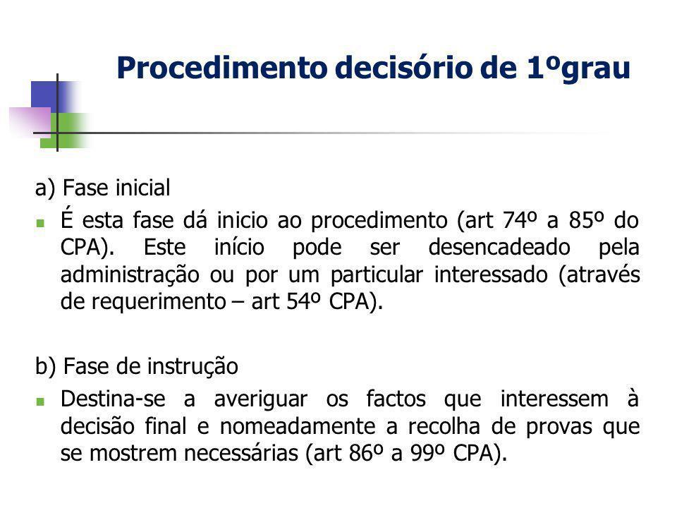 a) Fase inicial É esta fase dá inicio ao procedimento (art 74º a 85º do CPA). Este início pode ser desencadeado pela administração ou por um particula