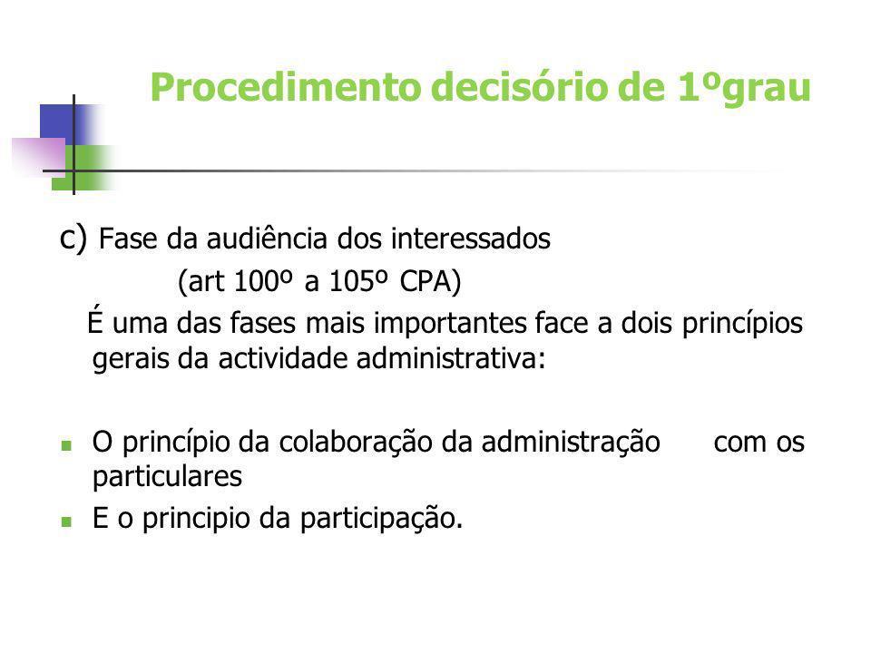 c) Fase da audiência dos interessados (art 100º a 105º CPA) É uma das fases mais importantes face a dois princípios gerais da actividade administrativ