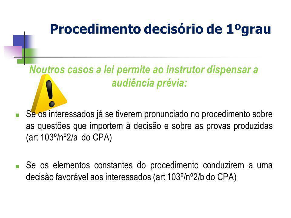 Noutros casos a lei permite ao instrutor dispensar a audiência prévia: Se os interessados já se tiverem pronunciado no procedimento sobre as questões