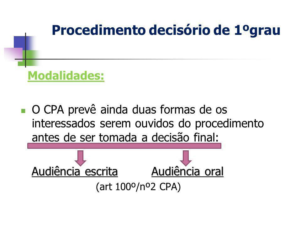 Modalidades: O CPA prevê ainda duas formas de os interessados serem ouvidos do procedimento antes de ser tomada a decisão final: Audiência escrita Aud