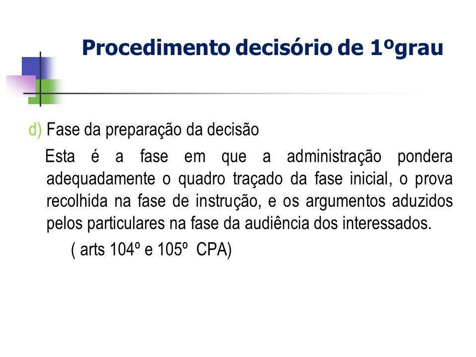 d) Fase da preparação da decisão Esta é a fase em que a administração pondera adequadamente o quadro traçado da fase inicial, o prova recolhida na fas