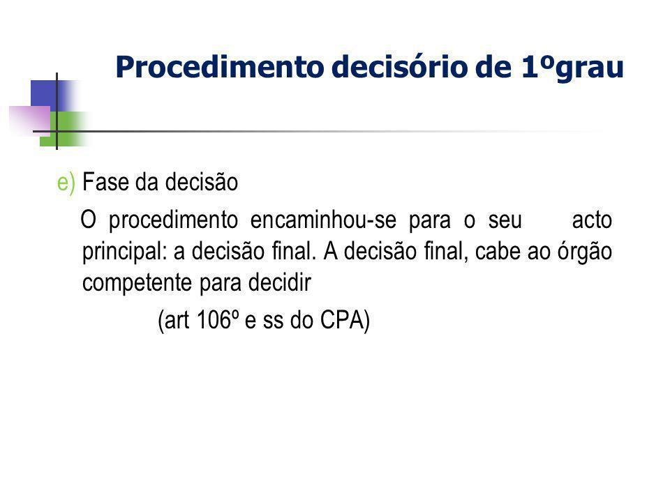 e) Fase da decisão O procedimento encaminhou-se para o seu acto principal: a decisão final. A decisão final, cabe ao órgão competente para decidir (ar