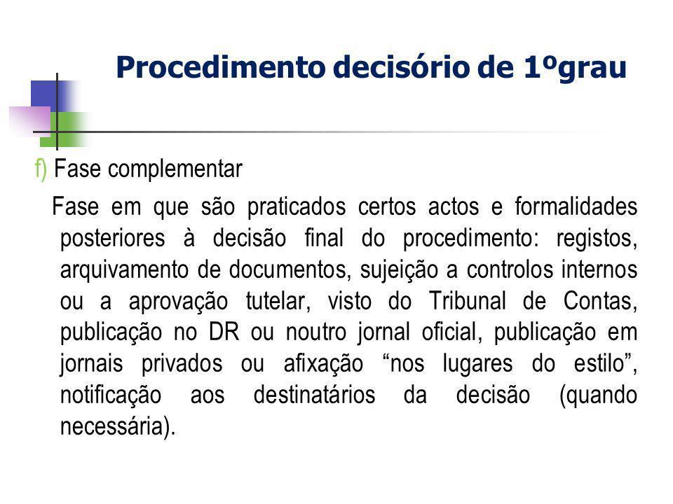 f) Fase complementar Fase em que são praticados certos actos e formalidades posteriores à decisão final do procedimento: registos, arquivamento de doc