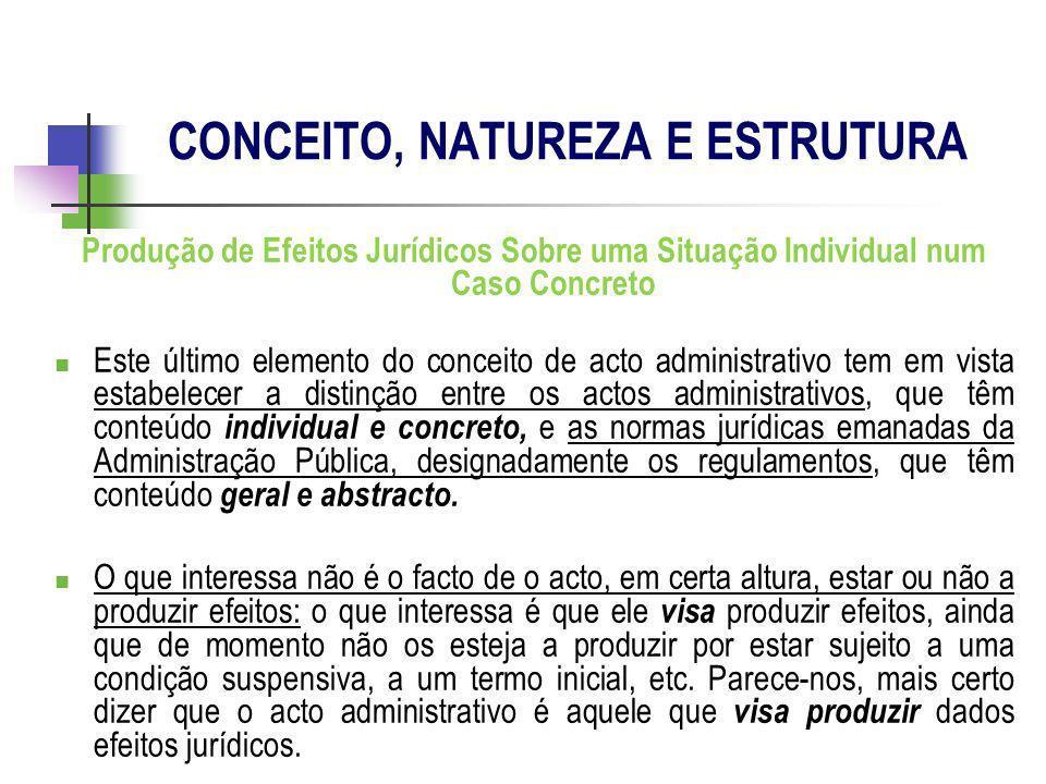 Produção de Efeitos Jurídicos Sobre uma Situação Individual num Caso Concreto Este último elemento do conceito de acto administrativo tem em vista est