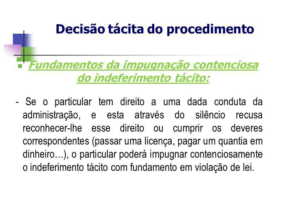 Fundamentos da impugnação contenciosa do indeferimento tácito: - Se o particular tem direito a uma dada conduta da administração, e esta através do si